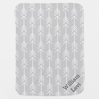 Gray and Seafoam Arrows Monogram Receiving Blanket