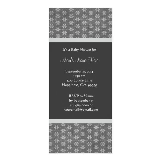 Gray and Silver Damask Baby Shower Invitations