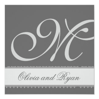 GRAY and SILVER Lace Monogram Wedding Invitation