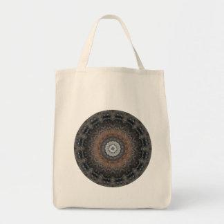 Gray and Silver Metallic Industrial Mandala Tote Bag