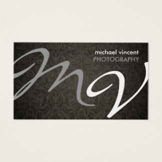 Gray and Silver monogram with black damask Business Card