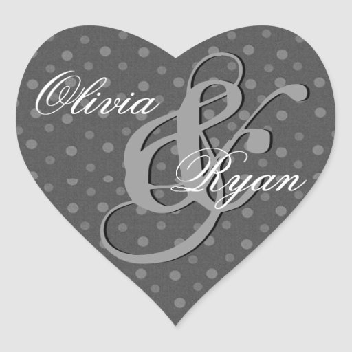 Gray and Silver Polka Dots Wedding Heart Sticker