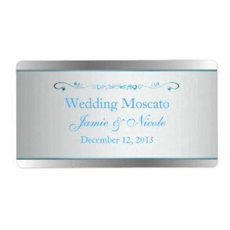 Gray and Silver Wedding Mini Wine Labels