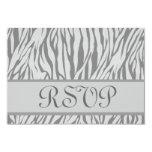 "Gray and Silver  Zebra Print RSVP Wedding Response 3.5"" X 5"" Invitation Card"