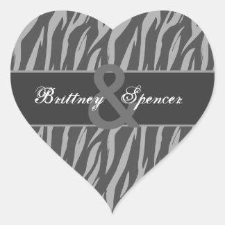 Gray and Silver Zebra Wedding Bride and Groom Heart Sticker