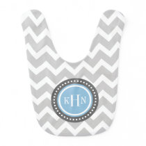 Gray and Sky Blue Chevron Monogram Bib
