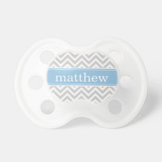 Gray And Sky Blue Chevron Monogram Pacifier at Zazzle
