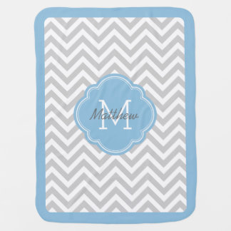 Gray and Sky Blue Chevron Monogram Receiving Blanket