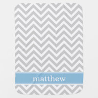 Gray and Sky Blue Chevron Monogram Stroller Blanket
