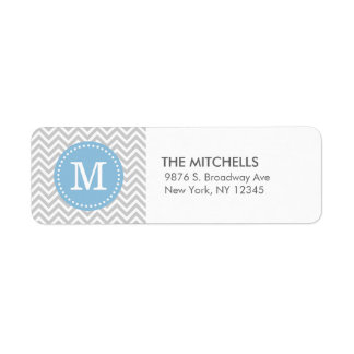 Gray and Sky Blue Modern Chevron Custom Monogram Custom Return Address Labels
