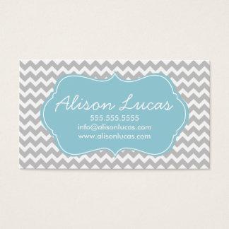 Gray and Sky Blue Modern Chevron Stripes Business Card