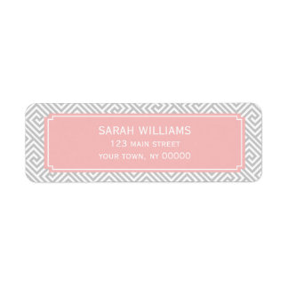 Gray and Soft Pink Greek Key Pattern Label