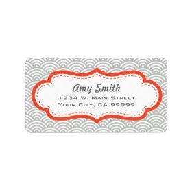Gray and Tangerine Orange Asian Pattern Custom Address Labels