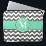 "Gray and Teal Chevron Monogram Laptop Sleeve<br><div class=""desc"">Show off your personal style in a fun way with this gray and teal chevron monogram laptop case.</div>"