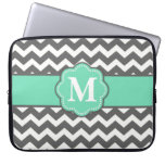 Gray and Teal Chevron Monogram Laptop Sleeve<br><div class='desc'>Show off your personal style in a fun way with this gray and teal chevron monogram laptop case.</div>