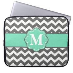 Gray And Teal Chevron Monogram Laptop Sleeve at Zazzle