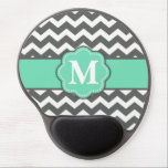 """Gray and Teal Chevron Monogram Mousepad<br><div class=""""desc"""">Show off your personal style in a fun way with this teal and gray chevron monogram mousepad.</div>"""
