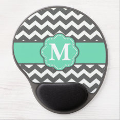 Gray And Teal Chevron Monogram Mousepad at Zazzle