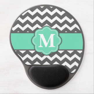 Gray and Teal Chevron Monogram Mousepad Gel Mouse Pad