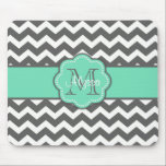 "Gray and Teal Chevron Personalized Mousepad<br><div class=""desc"">Show off your personal style in a fun way with this gray and teal chevron personalized mousepad.</div>"