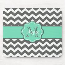 Gray and Teal Chevron Personalized Mousepad