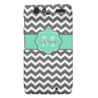 Gray and Teal Chevron Personalized Phone Case Droid RAZR Cover