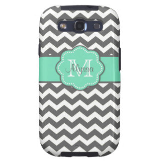 Gray and Teal Chevron Personalized Phone Case Galaxy SIII Cover