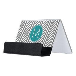 Gray and Teal Chevrons - Custom Monogram Desk Business Card Holder