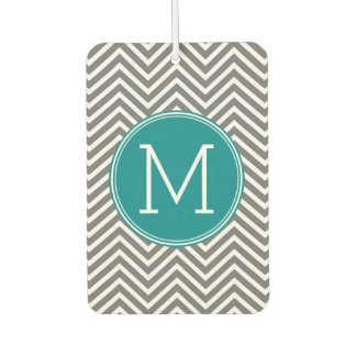 Gray and Teal Chevrons with Custom Monogram