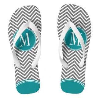 Gray and Teal Chevrons with Custom Monogram Flip Flops