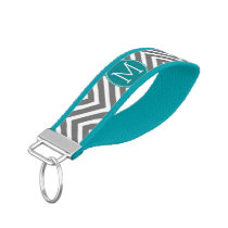 Gray and Teal Chevrons with Custom Monogram Wrist Keychain