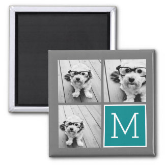 Gray and Teal Instagram Photo Collage Monogram 2 Inch Square Magnet