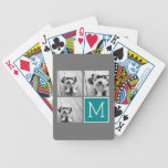 Gray and Teal Instagram Photo Collage Monogram Bicycle Playing Cards