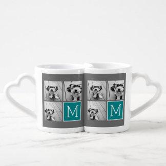 Gray and Teal Instagram Photo Collage Monogram Coffee Mug Set