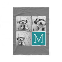 Gray and Teal Instagram Photo Collage Monogram Fleece Blanket
