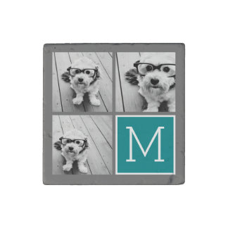 Gray and Teal Instagram Photo Collage Monogram Stone Magnet
