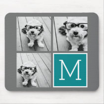 Gray and Teal Instagram Photo Collage Monogram Mouse Pad