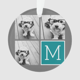 Gray and Teal Instagram Photo Collage Monogram Ornament