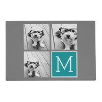Gray and Teal Instagram Photo Collage Monogram Placemat