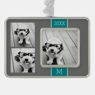 Gray and Teal Instagram Photo Collage Monogram Silver Plated Framed Ornament