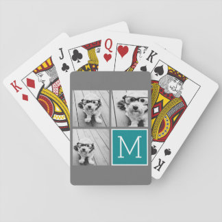 Gray and Teal Instagram Photo Collage Monogram Poker Deck