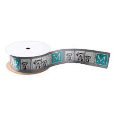 Gray and Teal Instagram Photo Collage Monogram Satin Ribbon