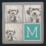 "Gray and Teal Instagram Photo Collage Monogram Stone Coaster<br><div class=""desc"">Use 3 square photos to create a unique and personal gift. Or you can keep the hipster puppy and make a trendy keepsake. If you need to adjust the pictures,  click on the customize tool to make changes.</div>"