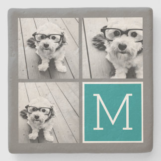 Gray and Teal Instagram Photo Collage Monogram Stone Coaster
