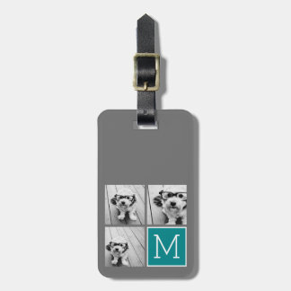 Gray and Teal Instagram Photo Collage Monogram Tag For Luggage