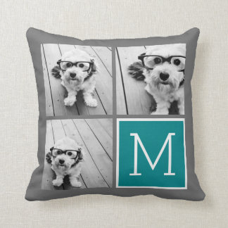 Gray and Teal Instagram Photo Collage Monogram Throw Pillow