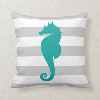 Gray and Teal Nautical Stripes and Cute Seahorse Throw Pillow