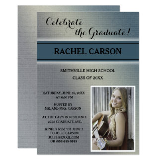 Gray and Teal Ombre' Photo Graduation Invitation