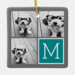 Gray and Teal Photo Collage Monogram Ceramic Ornament