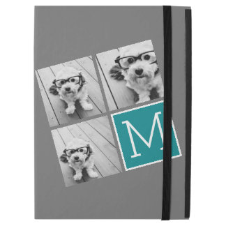 "Gray and Teal Photo Collage Monogram iPad Pro 12.9"" Case"